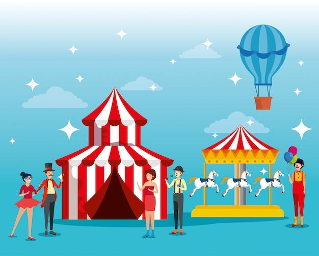 Festivalleute-kostüm mit zirkus- und pferdekarussellmaschine