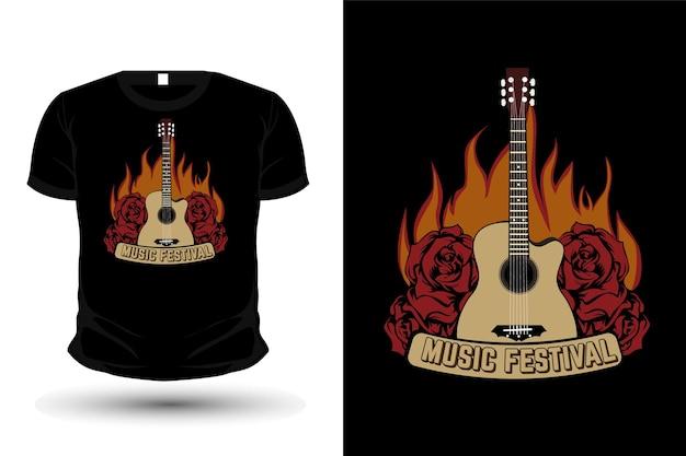 Festivalmusik-typografie-t-shirt-design mit flammen
