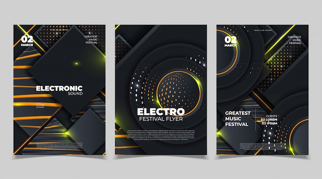 Festivalplakatmodell der elektronischen musik. flyer zum festival für elektronische musik. vektor-illustration