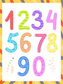Festlegen, dass kinder flashcard-nummernverfolgung lernen, zu zählen und zu schreiben