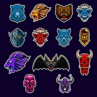 Festlegen sie symbol charakter kopf maskottchen logo