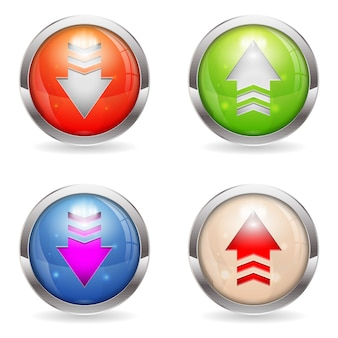 Festlegen von glänzenden download- und upload-schaltflächen