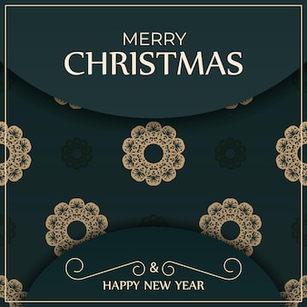 Festliche broschüre frohe weihnachten dunkelgrüne farbe mit abstraktem gelbem muster
