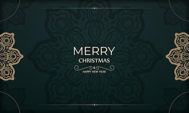 Festliche broschüre frohe weihnachten und ein glückliches neues jahr in dunkelgrüner farbe mit abstraktem gelbem ornament