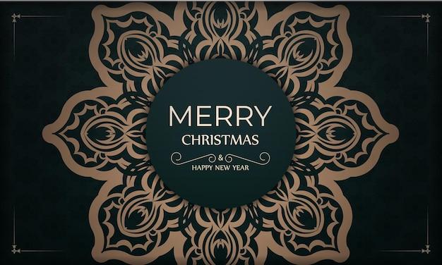 Festliche broschüre frohe weihnachten und ein glückliches neues jahr in dunkelgrüner farbe mit gelbem vintage-muster