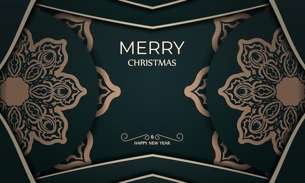 Festliche broschüre frohe weihnachten und ein glückliches neues jahr in dunkelgrüner farbe mit wintergelbem muster