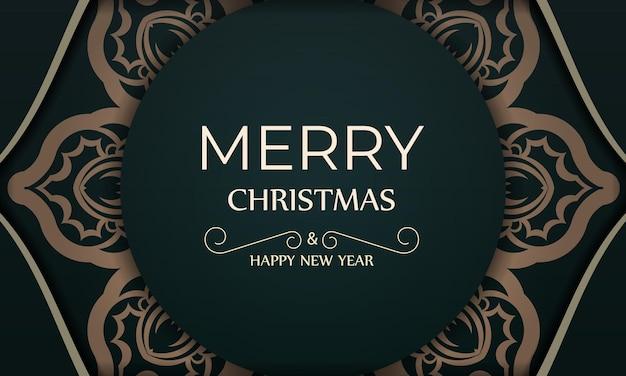 Festliche broschüre frohe weihnachten und ein glückliches neues jahr in dunkelgrüner farbe mit wintergelber verzierung