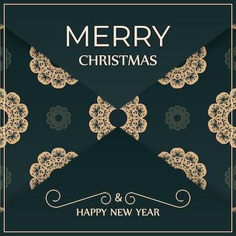 Festliche broschüre frohes neues jahr in dunkelgrüner farbe mit luxuriösem gelbem ornament