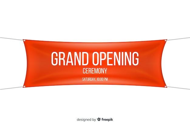 Festliche eröffnung banner im realistischen stil