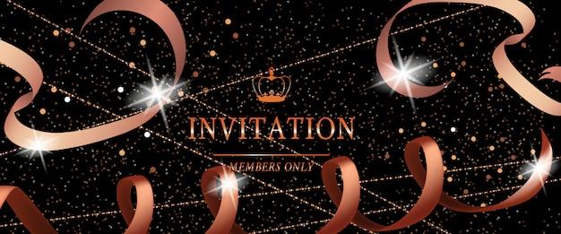 Festliche fahne der einladungs-luxuspartei mit band und funken