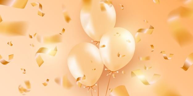 Festliche fahne mit goldheliumballonen. Premium Vektoren