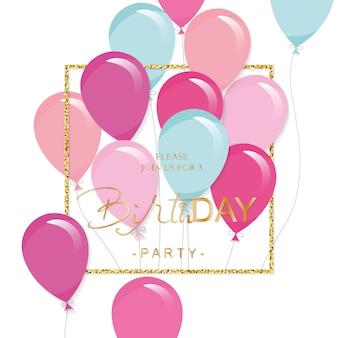 Festliche feiertagsschablone mit bunten ballonen und funkelnrahmen. einladung zum geburtstag.