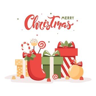 Festliche geschenke und bonbons für das feiertagswochenende der frohen weihnachten. beschriftung. vektor-illustration.