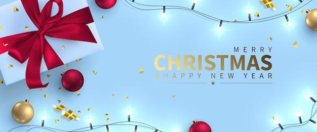 Festliche grußkarte mit neujahr und frohen weihnachten