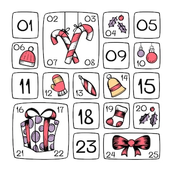 Festliche handgezeichnete adventskalender