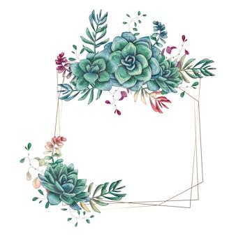 Festliche Hochzeitsrahmen mit bunten Succulents.