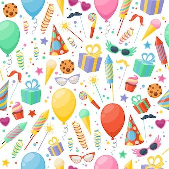 Festliche ikonen der feierpartei nahtloses muster. bunte symbole - hut, maske, geschenke, ballon.