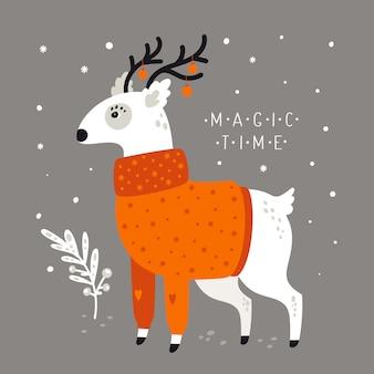 Festliche illustration des feiertags der frohen weihnachten. entzückende rotwild in der strickjacke lokalisiert auf hintergrund mit schneeflocken