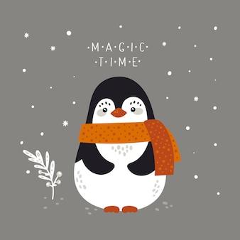 Festliche illustration des feiertags der frohen weihnachten mit babypinguin in der flachen karikaturart für grußkarte, plakat, druck