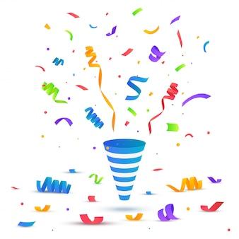 Festliche illustration. party popper mit konfetti isoliert auf weiß.