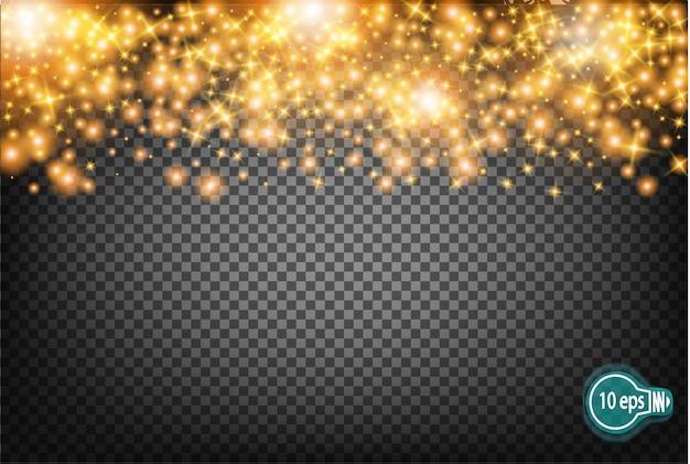 Festliche illustration von fallenden glänzenden partikeln und von sternen lokalisiert auf transparentem hintergrund