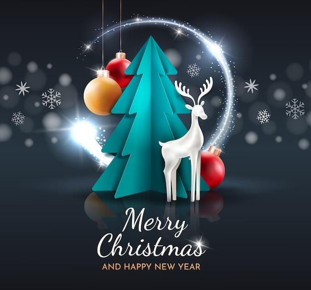 Festliche karte mit einem hirsch, weihnachtskugeln und einem baum auf einem dunklen hintergrund. grußkartenvorlage.