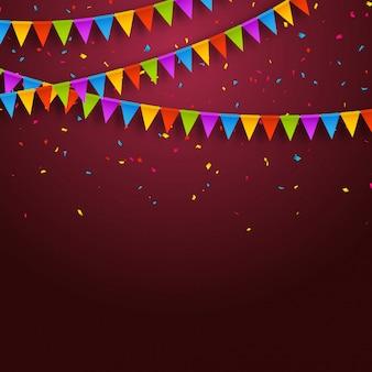 Festliche karte mit konfetti, partyeinladungsentwurfsschablone. festlicher feierhintergrund