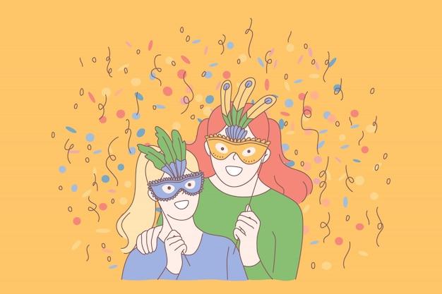 Festliche maskerade, kreatives feierkonzept