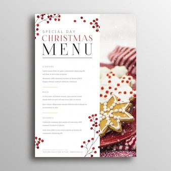 Festliche menüvorlage für weihnachten