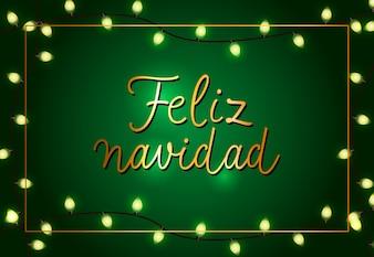 Festliche Plakatgestaltung von Feliz Navidad. Weihnachtsgirlanden