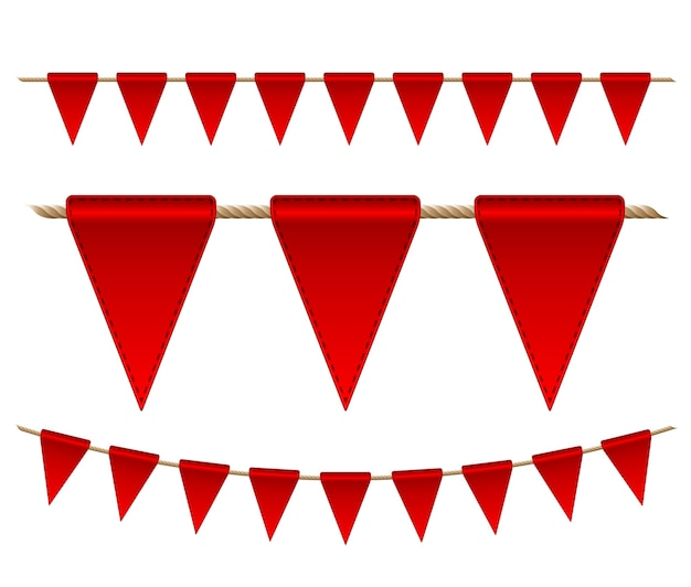 Festliche rote fahnen auf weißem hintergrund. illustration
