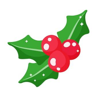 Festliche stechpalme der weihnachtskarikatur mit beeren.