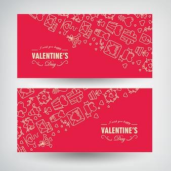 Festliche valentinstag romantische horizontale banner mit inschriften und linierten traditionellen illustrationen