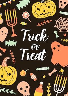 Festliche vertikale halloween-karte oder postkartenschablone mit trick or treat-schriftzug, umgeben von gruseligen feiertagskreaturen und magischen gegenständen