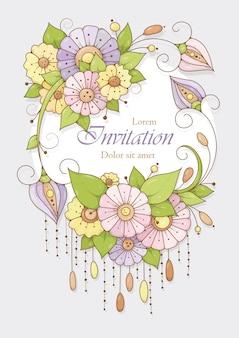 Festliche vertikale karte mit rosa, blauen und gelben blumen für einladungs- und grußkarten.