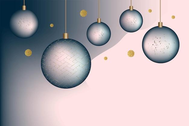 Festliche weihnachten hintergrund postkarte einladung farbverlauf neujahrskugeln blau und goldfarbe