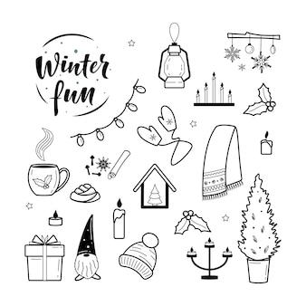 Festliche weihnachten und hygge clipart gemütliche elemente sammlung