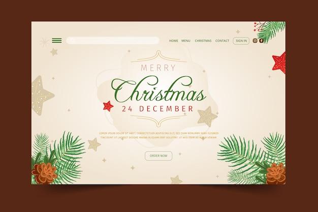 Festliche weihnachts-landingpage-vorlage