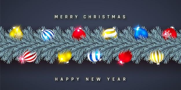 Festliche weihnachts- oder neujahrsgirlande. weihnachtsbaumzweige. urlaub hintergrund.