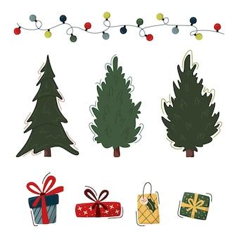 Festliche weihnachtscliparts-elementesammlung. weihnachtsbäume, geschenkboxen und girlanden.