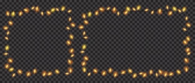 Festliche weihnachtsdekorationen, gelbe durchscheinende lichterketten quadratisch und rechteckig. auf transparentem hintergrund isoliert. transparenz nur in vektordatei