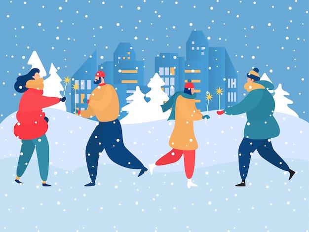 Festliche weihnachtsfeier glückliche fröhliche leute, gute gesellschaft, die spaß im freien, winter, karikaturart-designillustration hat.