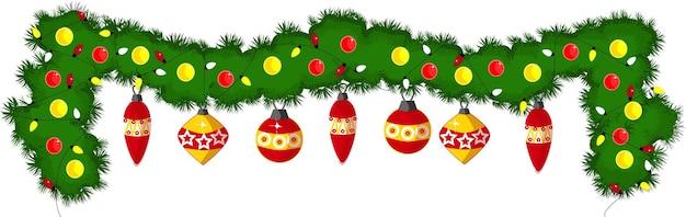 Festliche weihnachtsgirlande mit luftballons und leuchtenden glühbirnen