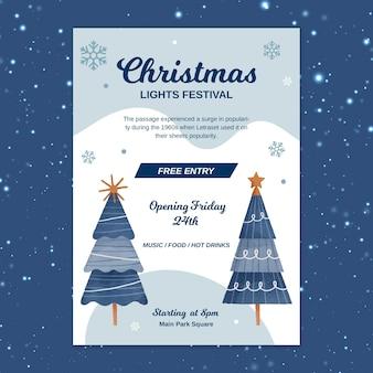 Festliche weihnachtsplakatschablone