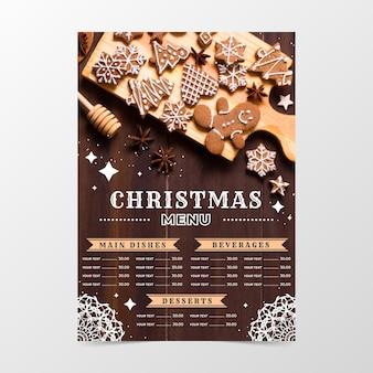 Festliche weihnachtsrestaurant-menüschablone mit foto