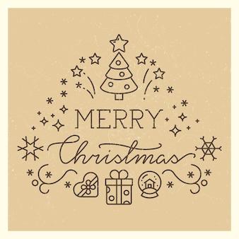 Festliche weihnachtsweinlesefahne mit linie kunstikonen