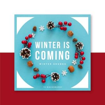Festliche winter-cd-hülle mit dekorationen