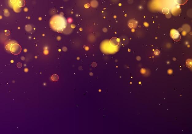 Festlicher blauer und goldener leuchtender hintergrund mit buntem lichtbokeh. konzept weihnachten. magischer urlaub. nacht hellgoldgelb funkelt licht abstrakt