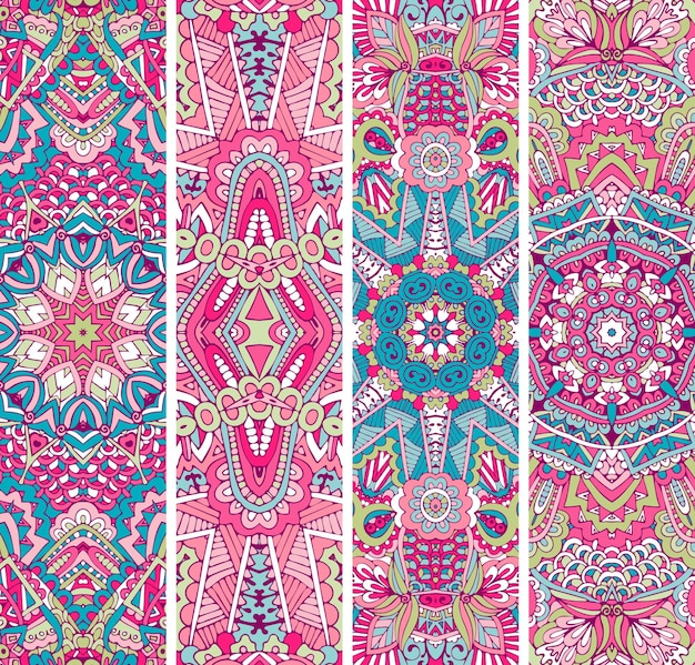 Festlicher bunter dekorativer ethnischer fahnensatz. stammes-geometrische doodle-ziervorlagen. boho-stil