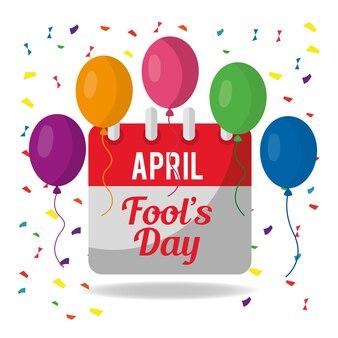 Festlicher feierkalender des aprilscherz-tages steigt ballons konfetti im ballon auf